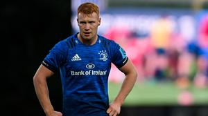 Versatile Leinster back Ciarán Frawley, who grew up playing for Skerries, has been named in Andy Farrell's Ireland squad. Photo by Ramsey Cardy/Sportsfile