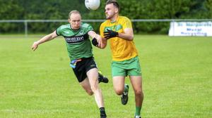 Paddy Costello (left) of St Pat's Donabate anchored a defence that conceded only 1-6 to Clann Mhuire. Picture: Fintan Clarke