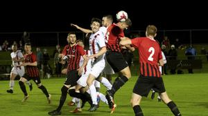 Action from Friday's FAI Intermediate Cup clash between Malahide United and Rush Athletic. Picture: Fintan Clarke