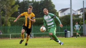 Skerries Town had to take off their captain Bob McKenna (pictured) when goalkeeper Collie McGearty was red-carded.