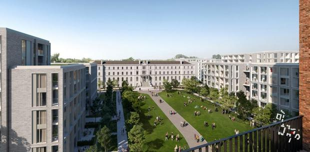 An artist's impression of the proposed Holy Cross scheme for 1,600 build-to-rent apartments by Hines in Drumcondra