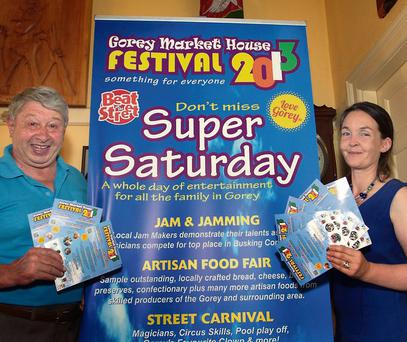 Mayor of Gorey Michael D'Arcy and Town Clerk, Amanda Byrne, at the launch of this year's Market House Festival.