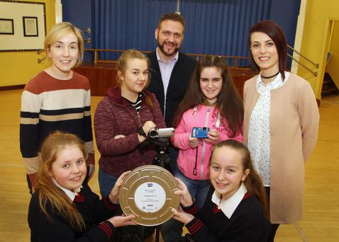Pupils Cailin Mullett, Katlyn Blackburn, Tamikia O'Leary and Aoife Moorehouse pictured with their teachers, Amy Collum, Gearoid McCauley and Denise Tyrrell