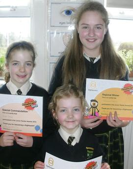 Kate Doyle (commended), Elese Doyle and Ashling Crawte, Leinster winners in the Annual Sightsavers Junior Painter Competition.