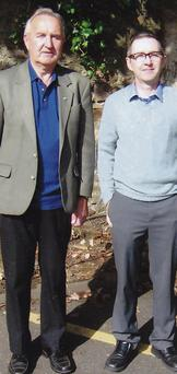Seamus Seery and his son Joe, who wrote an article for the Taghmon Historical Journal about the war connections.