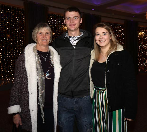 Nuala Conway, Jonathan Conway and Anna Cunningham at the Brendan Grace concert in the Riverside Park Hotel.