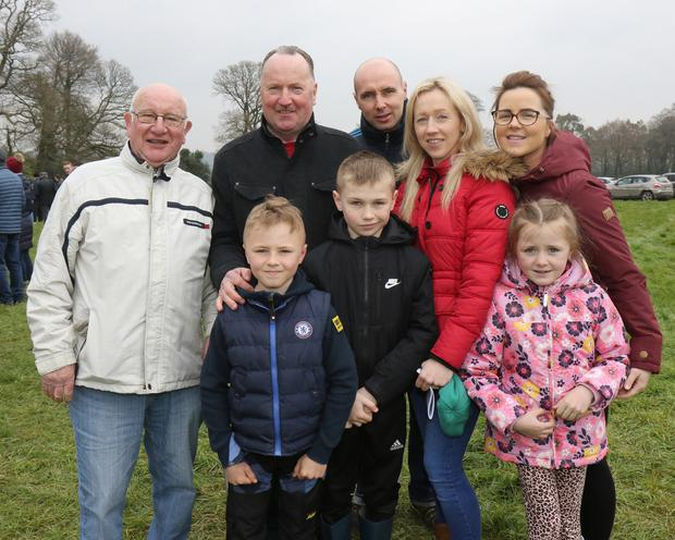 Frank O'Connor, Martin, Lorraine and Jean Kelly, Martin and Darragh Hennessy and David and Amy Donnelly from Clonroche at the Bree Point-to-Point at Monksgrange, Rathnure