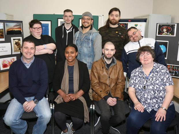 Pictured at the VTOS Photography Exhibition in Gonzaga House, Wafer Street, Enniscorthy were: back - Raz Sheridan-Hand, Darren Larkin, Muhammad Guetar, Ben Hogan and Antonio Iannetta. Front - James Quirke (teacher), Beruktawit Teffera, Mark James and Eithne Agar (co-ordinator)