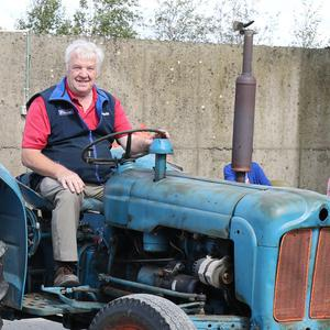 Paddy Buckley leading off the tractor run at the Caim Vintage Day