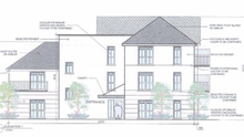 Architect's elevation drawing of one the proposed buildings