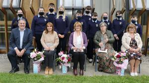 Retiring teachers Rose Donnelly, Siobhan Wall and Mary Kinsella (front, centre) with members of the Student Council, principal Jay Murphy and deputy principal Sandra O'Toole at Bunclody Vocational College