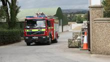 Enniscorthy Fire Service leaving Tommy Williamson Farm and Landscaping Supplies, Templescoby, following a fire on Friday afternoon (17th)