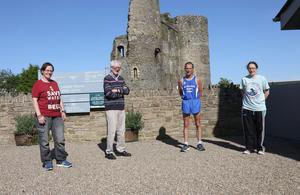 Marie Cashe, Billy Harper, Tommy McElwaine and Maria Lancaster before Tommy set off on his charity run from Ferns Castle.
