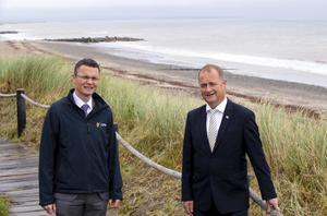 Minister of state at the OPW Patrick O'Donovan with Chief Executive of Wexford County Council Tom Enright on a visit to Rosslare last week