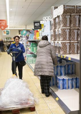 Shopping for toilet roll in Aldi on Friday.