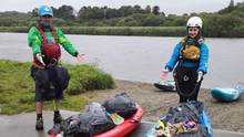 Members of GoPaddle.ie pictured with the rubbish they removed from the Slaney at Edermine bridge