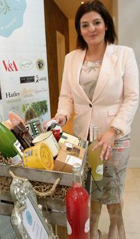 Angela Kelly with one of the hampers offered by her company, L'emacity.