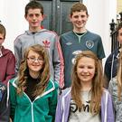Ballymurn Youth Club contestants (front, from left) Niall O'Connor, Emily White, Adi Scallon and Rebecca White. (Back from left): Tommy O'Connor, David Kehoe, James White and Fergal Grannell, who all competed in Youth Factor 2013 in St. Michael's Theatre in New Ross.
