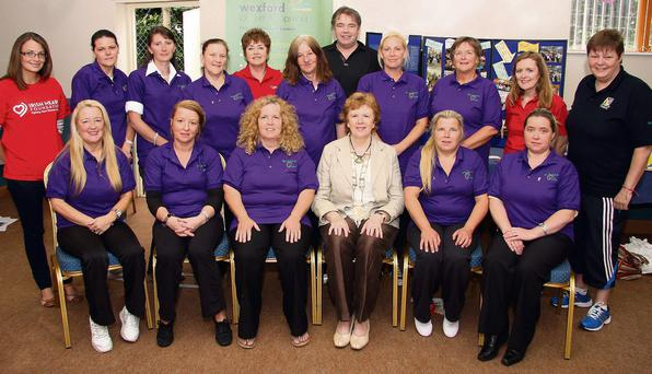 Wexford Local development - Sports Active wexford, Traveller wemens health group presentation of Certs on completion of course at Kilcannon Center Wednesday, Back Row, Edel Byrne, Irish Heart Found. Elisabeth Berry, Bridget Wall, Polly and Nan Connors, Patricia Dawson, Irish Heart, Frank Fahy, Laura Myles, Valerie O Flaherty, Mary Harkin, Irish Heart and Fran Ronan, Sports active Wex. Cordinator.Front Row, Josie Cash, Phyllis Connors, Anne Moorehouse, Kathleen Codd-Nolan, Chair. Wexford Co. Council, Alice Connors and Maggie Connors.