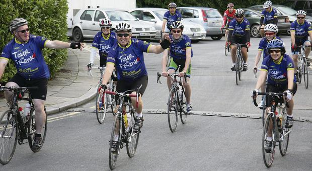 Some of the cyclists heading off from the Mill Race Hotel in Bunclody for the 'Tour de Frank' to Omagh in County Tyrone.