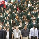 World recond attempt the the largest number of people holding hands in silence for peace at, Gorey Community School with 1,555 students taking part.