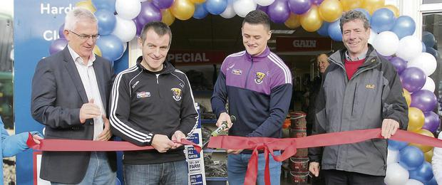 From left: Glanbia Agribusiness CEO, Colm Eustace; Wexford senior hurling manager, Liam Dunne; dual star, Lee Chin; and Glanbia Chairman, Liam Herlihy.