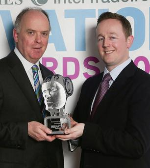 At the Irish Times InterTradeIreland Innovation of The Year Awards was Liam Kavanagh, (Irish Times managing director) with Edward Hendrick from Sonru.com (Business Services category winner) in March of last year.
