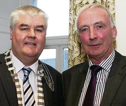 Johnny Mythen (Chairman of Enniscorthy UDC) and Michael Bennett (President of Enniscorthy Chamber of Commerce) at the wrap party