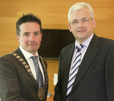 New municipal council meeting at council offices, Civic Square, chairman, Cllr. John Hegarty. vice chairman, Cllr. Joe Sullivan.