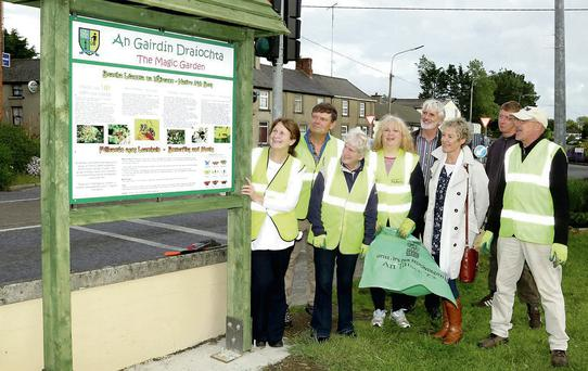 Tidy Towns chairperson LIz Kenny (left) with her hard working team at the information sign for 'The Magic Garden'.