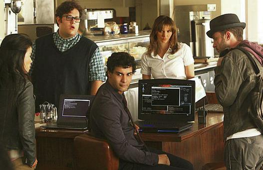 The cast of 'Scorpion' with Elyes Gabel (centre) as Walter O'Brien.