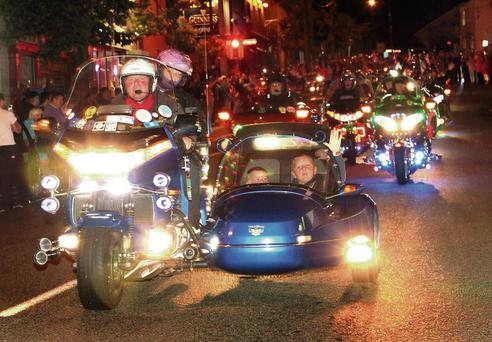 The Goldwing Owners Club's 'Light Parade' on Gorey's Main Street on Saturday night.