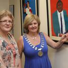 Kate Power sister of the late, Francis Joseph Power with, Cathoirleach Enniscorthy Municipal District, Cllr. Barbara-Anne Murphy who launched the exhibition