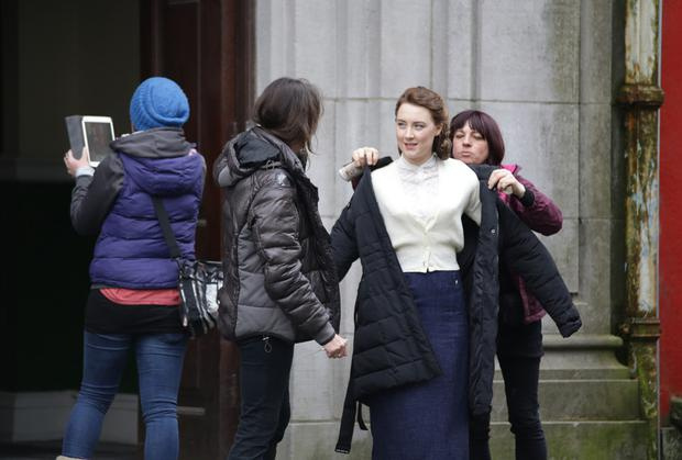 Saoirse Ronan on set of Brooklyn which was filmed in Enniscorthy last year. The film which is adapted from a book by Enniscorthy writer Colm Toibin will be shown in Enniscorthy next month.