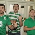 Kyle Kavanagh, Shane Carroll and Pa O' Brien in Stamps Pub