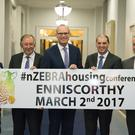 Tomas O'Leary, MosArt-nZEBRA; Tom Parlon, Construction Industry Federation; Minister for Housing Simon Coveney TD, Minister Paul Kehoe TD and Tom Enright CEO Wexford County Council