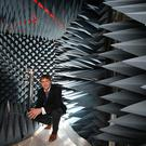 Dermot O'Shea from Enniscorthy, co-founder and president of Taoglas, pictured here in the company's remote frequency chamber