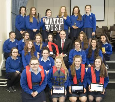 Minister Paul Kehoe photographed with the Our Lady of Lourdes YSI Project 'Water Wise'