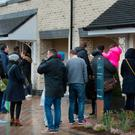 Househunters queue in the bitter cold to view new homes in Portmarnock, Co. Dublin
