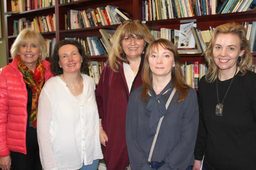 Members of the Wexford Literary Festival Maria Nolan, Imelda Carroll, Carmel Harrington, Adele O'Neill and Sheila Forsey at the Irish Writers Centre for the International Women's Day Readathon