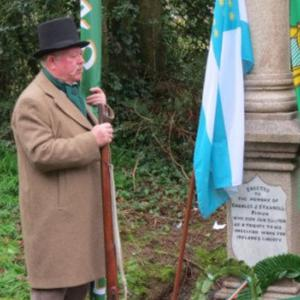 Ray Murphy, chairman of Enniscorthy Historical Re-enactment Society, at the grave of Charlie Farrell at Corrig Graveyard at St John's Enniscorthy