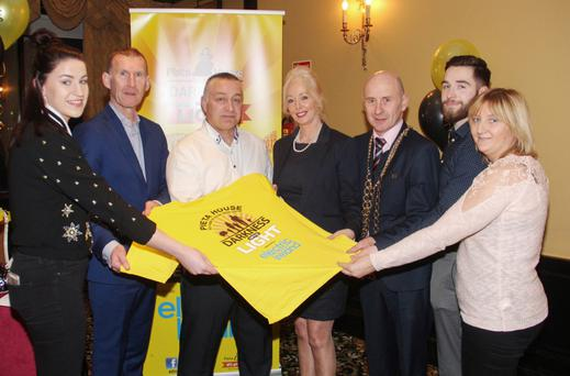 At the Wexford Darkness into Light launch: Clodagh Dunne, Colm Dunne (Electric Ireland), Liam McCabe, Cindy O'Conor (Pieta House), Mayor of Wexford Frank Staples, Christopher McCabe and Michelle Walsh