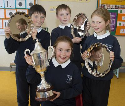 Front: Leah Murphy, 5th class. Back: Shane Kehoe, 5th class; Cormac Fleming, 3rd class and Bridín Quigley, 4th class