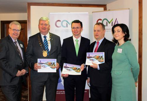 Tony Larkin, Cllr Paddy Kavanagh, Minister Patrick O'Donovan, Tom Enright, CEO, Wexford County Council and Siobhan O'Neill