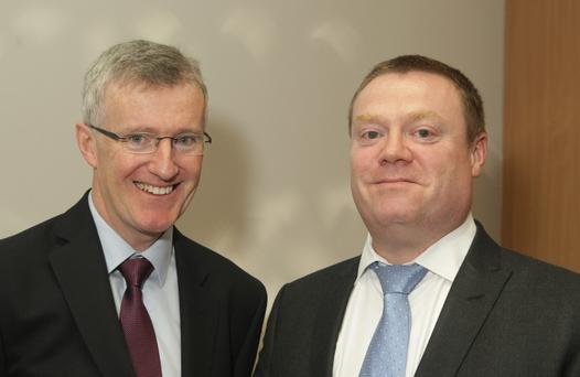 Chamber president John Burke O'Leary with guest speaker Tim Greig of Wexford Chamber of Commerce