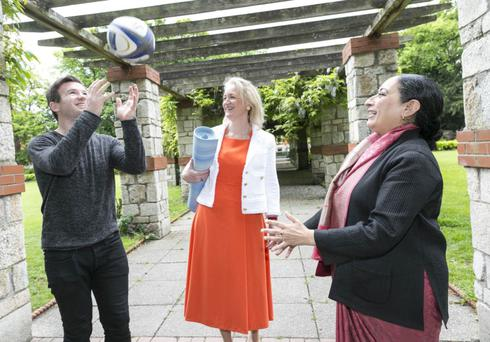 Former rugby international Gordon D'Arcy with Calodagh McCumiskey of Rejuvenate Ireland and Her Excellency Mrs. Vijay Thakur Singh, the Indian Ambassador to Ireland who launched a conference on Wellbeing and Yoga taking place in the Ferrycarrig Hotel on June 21