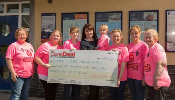 The Wexford Children's Diabetes Clinic receives a cheque for €12,890 from DoneDeal