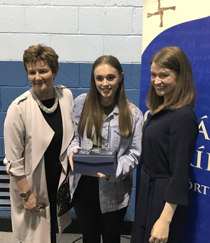Outstanding Leaving Certificate Results: Cara Burke with Principal, Ms O'Sullivan and Guest Speaker Fiona Darcy