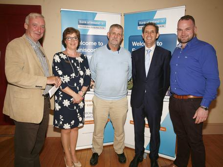 Michael Bennett, Marguerite Murphy, manager Enniscorthy branch of Bank of Ireland; Jimmy Gahan, Michael O'Leary and Peter Cooney, Enterprise & Recruitment co-ordinator