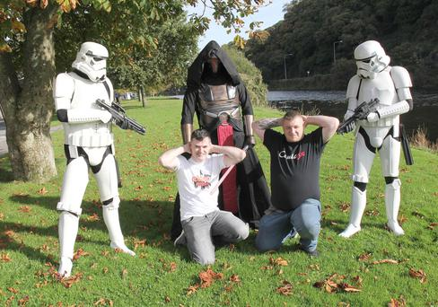 Cosmic Rebels organisers Ed Doyle and Brian Thomas with members of the Star Wars 501st Legion
